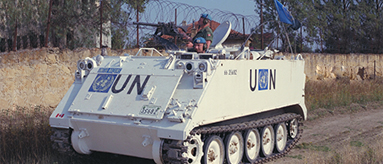 Canadian peacekeepers in armoured vehicle on patrol in Cyprus.