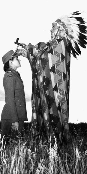 Mary Greyeyes, a member of the Canadian Women's Army Corps, during the Second World War.