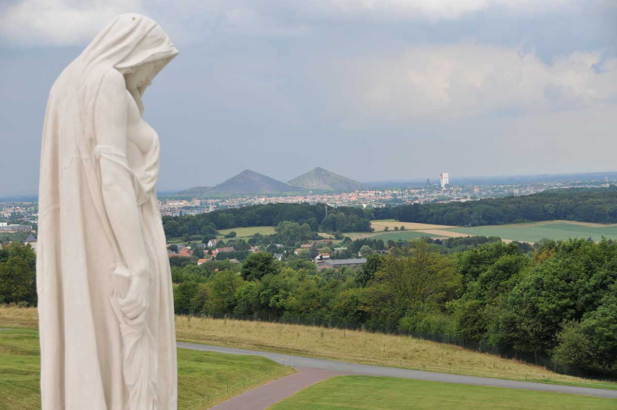 "Figure of  ""Canada Bereft"" overlooking the Douai Plain from Vimy Ridge."