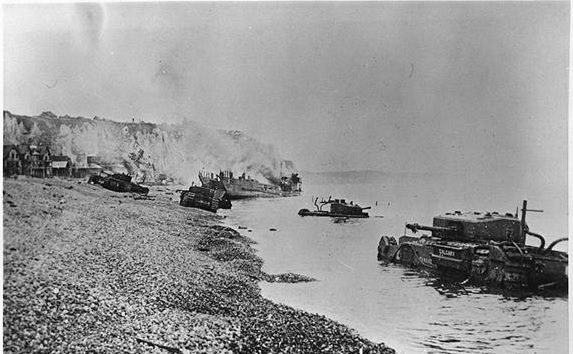 Dieppe beach after raid.