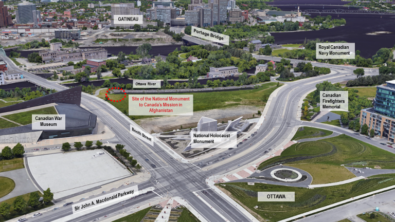 The LeBreton Flats site is located in Ottawa across the street from the Canadian War Museum on the east side of Booth Street, north of the National Holocaust Monument. The site will provide easy access and high visibility to the monument for both vehicle and pedestrian traffic.