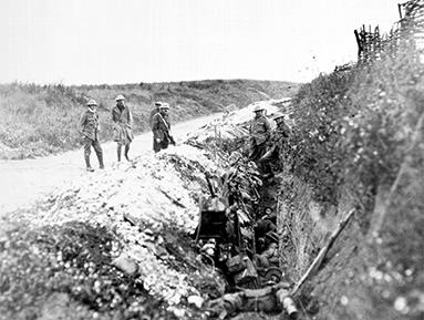 Newfoundland soldiers in trench