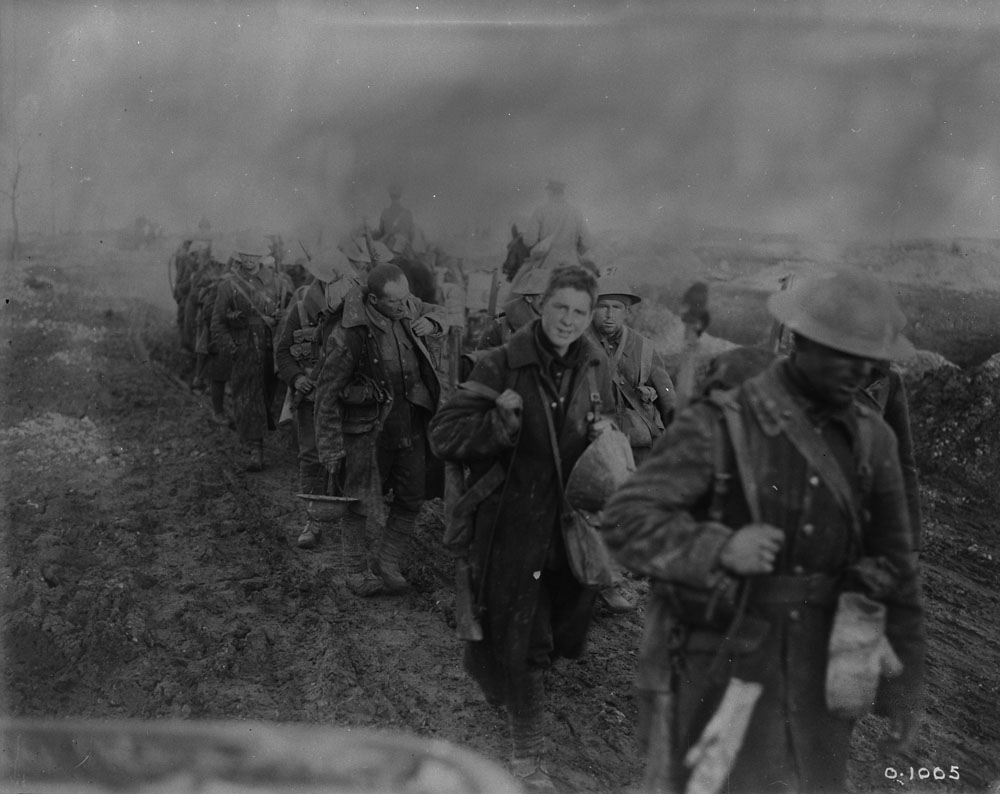 Canadian soldiers returning from trenches