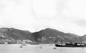 View of eastern Hong Kong from <abbr title='Her Majesty's Canadian Ships'>HMCS</abbr> <em>Prince Robert</em>, November 1941. <em>(Library and Archives Canada PA-114809)</em>
