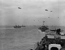 Invasion craft en route to France on D-Day.