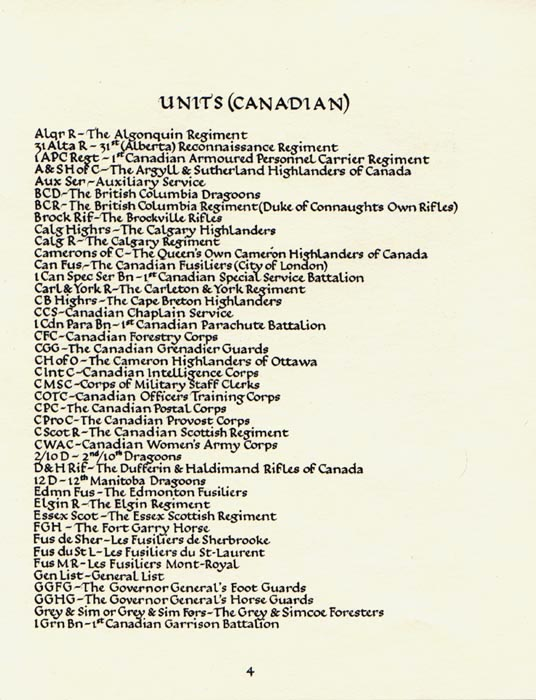 Units (Canadian) page 4 - Second World War - Text transcription to follow
