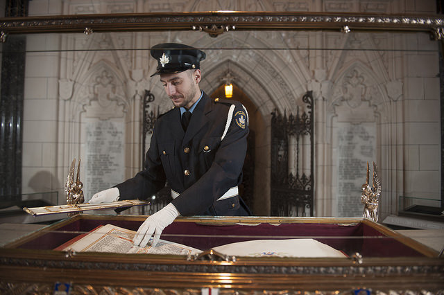 Guard in front of the First World War Book of Remembrance