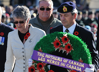 National Memorial (Silver) Cross Mother Della Marie Morley at Remembrance Day ceremony