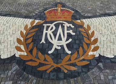 Giant Royal Canadian Air Force crest embedded in the paving stones at the Memorial entrance