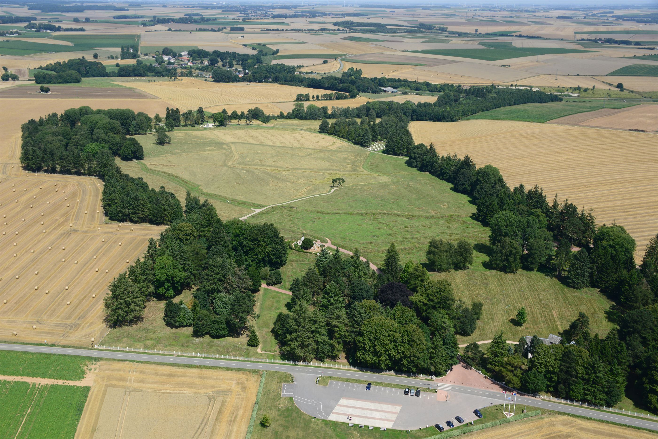 Aerial view of 30 hectares the Beaumont-Hamel Newfoundland Memorial
