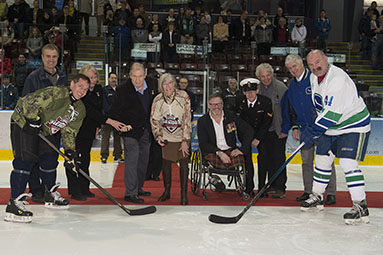 Puck drop at Vancouver Canucks Alumni and members of the Canadian Armed Forces game