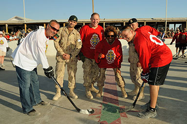 Face-off of the Team Canada ball hockey game in Afghanistan
