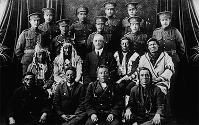 Elders and Aboriginal soldiers in the uniform