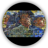 Mosaic made of 240 individual paintings of military scenes.