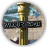 Plaque de rue de Valour Road