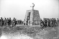 General Sir Arthur Currie unveiling the Memorial erected by Canadian Artillery in memory of artillery men who fell during the Battle of Vimy Ridge, February 1918.