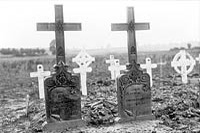 Graves of two officers of the Canadian Railway Troops killed while laying a railroad over Vimy Ridge, August 1917.