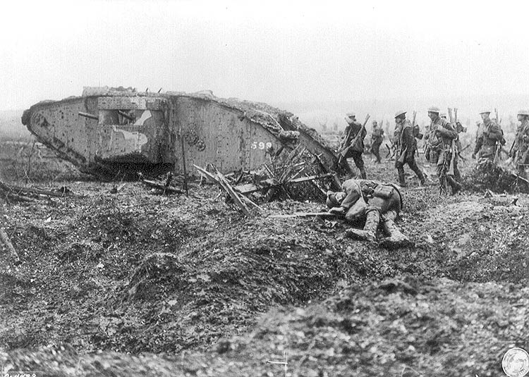 A tank advancing with Infantry at Vimy Ridge. April 1917. Library and Archives Canada.