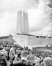 His Majesty King Edward VIII unveils the Canadian National  Memorial at Vimy Ridge.