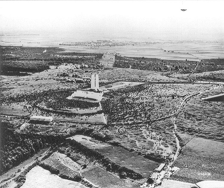 Vimy unveiling aerial view