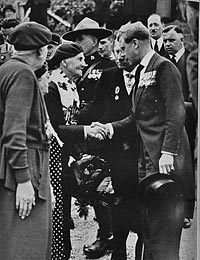 His Majesty King Edward VIII greeting Mrs. Wood.