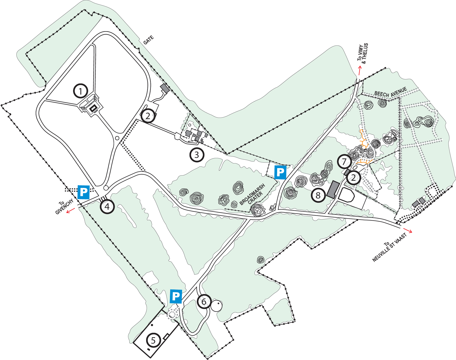 Map of the Canadian National Vimy Memorial site, showing points of interest.  Legend details in text following the image.