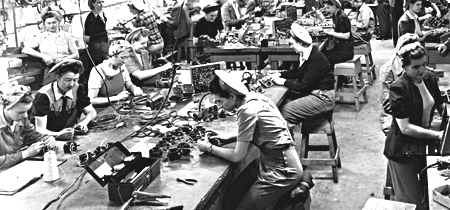 Women soldering and assembling cables for airplanes, Canadian Car and Foundry <abbr title='Company'>Co.</abbr>, Brantford, 1945.  Photo: Archives of Ontario C190-5-0-0-43