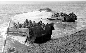 &quot;Buffalo&quot; amphibious vehicles taking troops across the Scheldt in Holland. <em>(Library and Archives Canada PA-41505)</em>